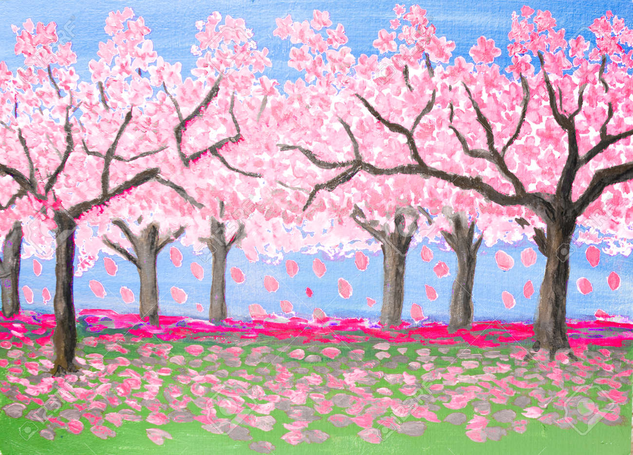 Spring Landscape Garden In Blossom Trees With Pink Flowers