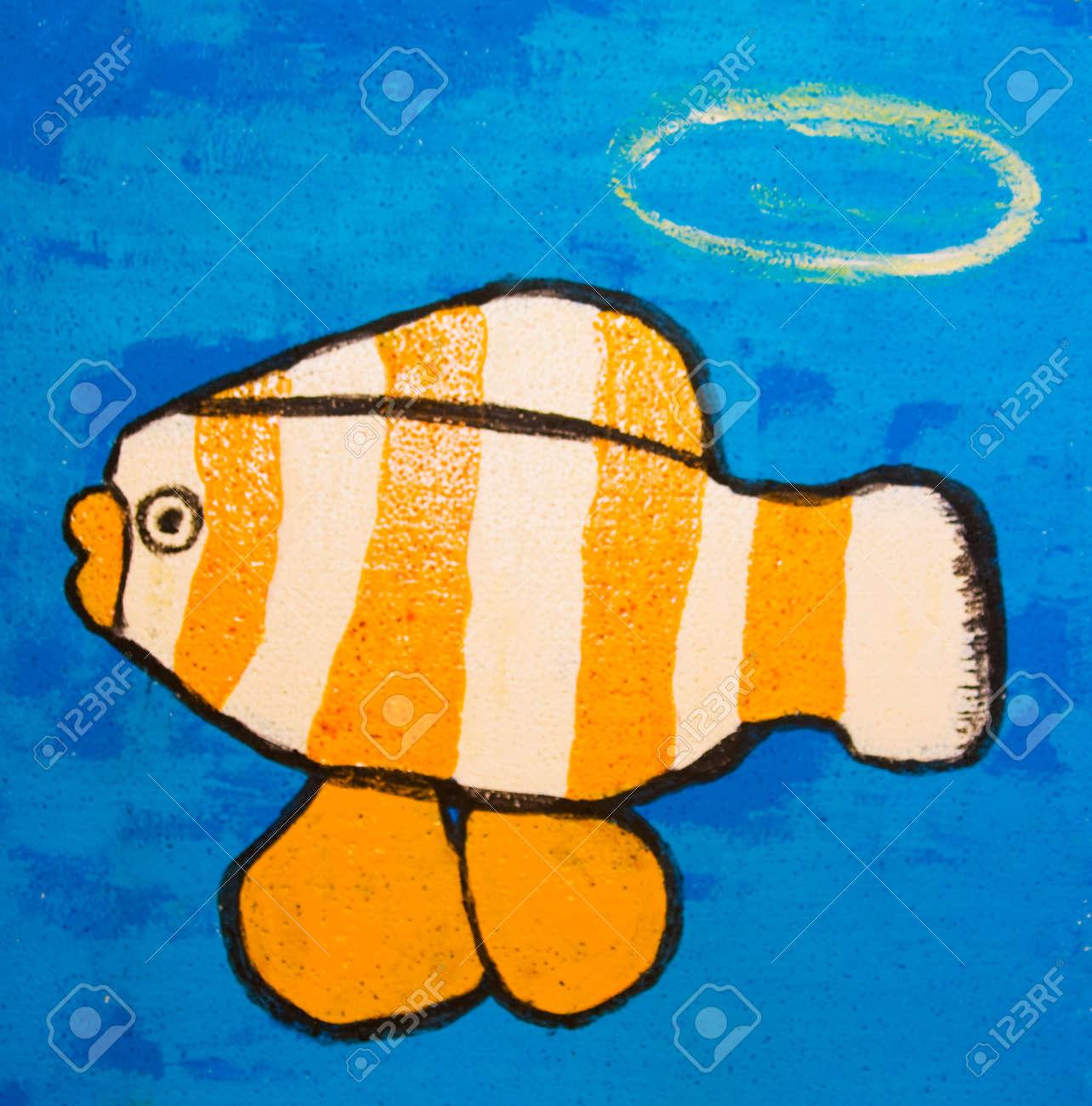 Malerei Illustration, Acryl, Fisch Mit Orangefarbenen Und Weißen ...