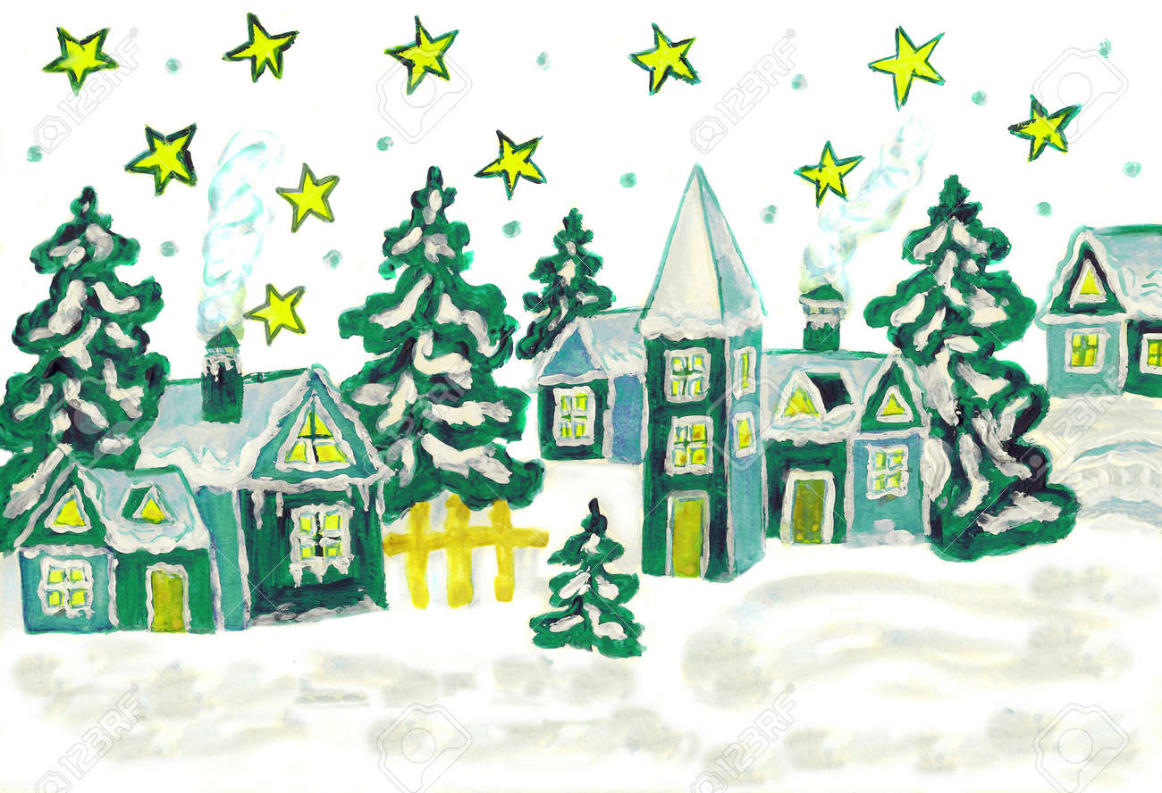 Weihnachtsbilder Und Videos.Painting Watercolor Christmas Picture In Green And White Colours