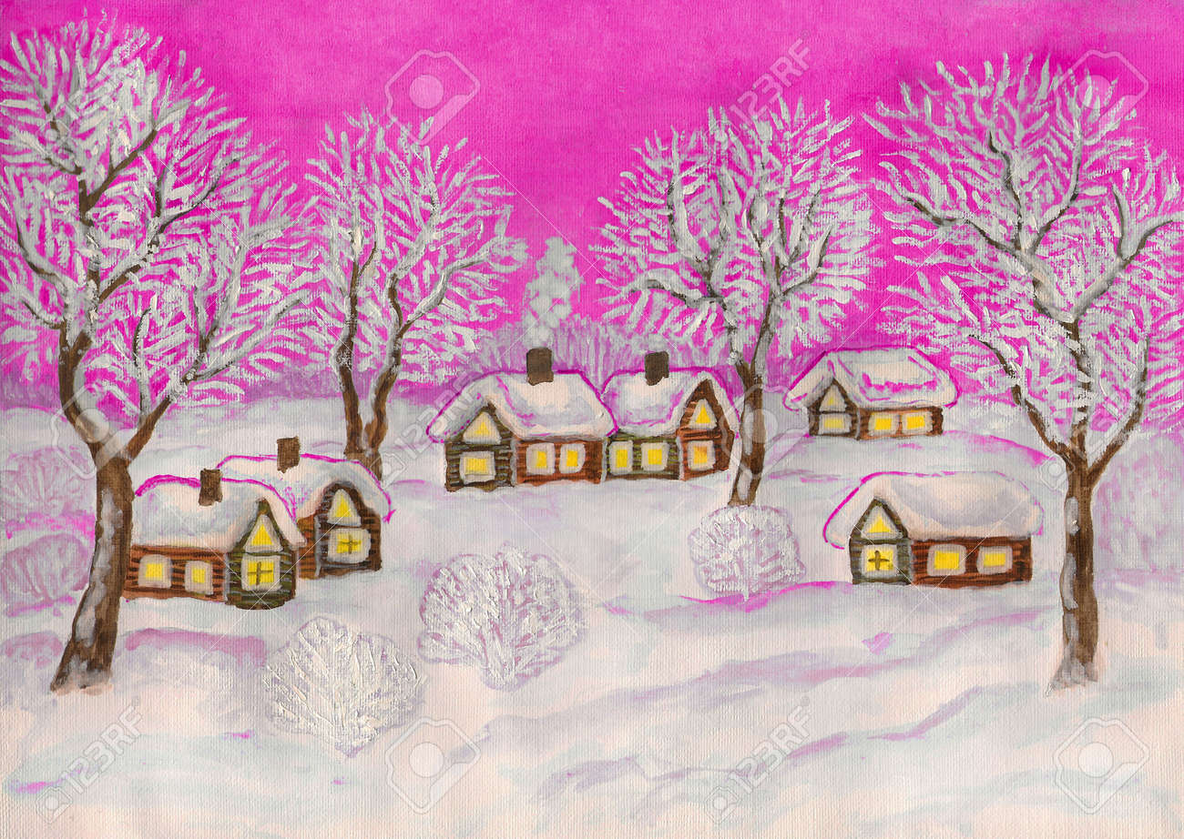 Hand Painted Christmas Illustration, Watercolor And White Gouache ...