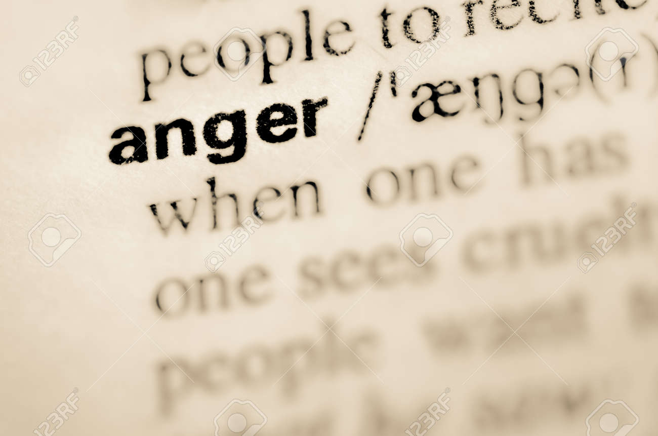 definition of word anger in dictionary stock photo, picture and