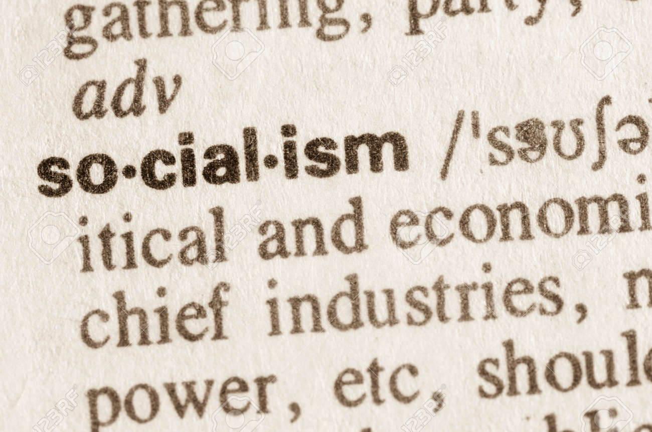 definition of word socialism in dictionary stock photo, picture and