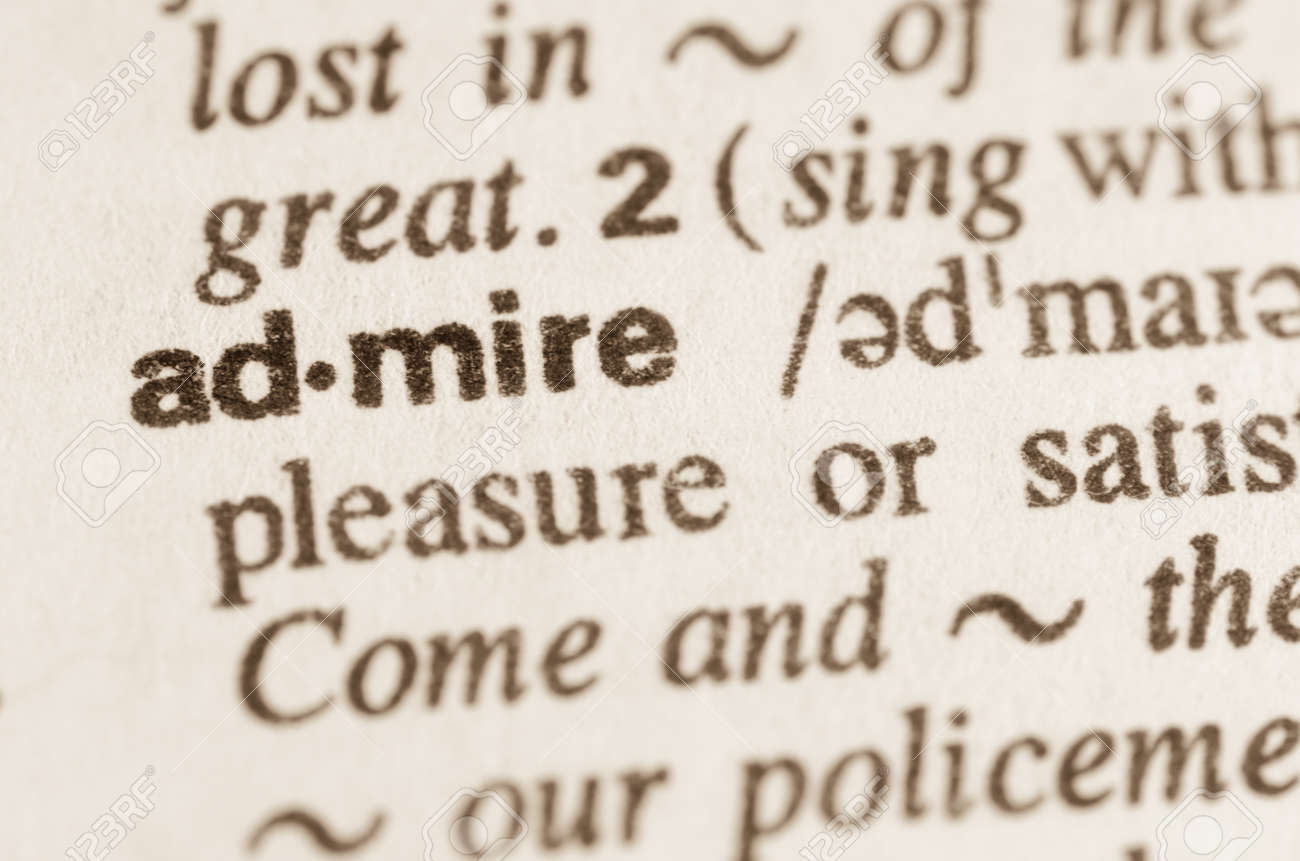 definition of word admire in dictionary stock photo, picture and
