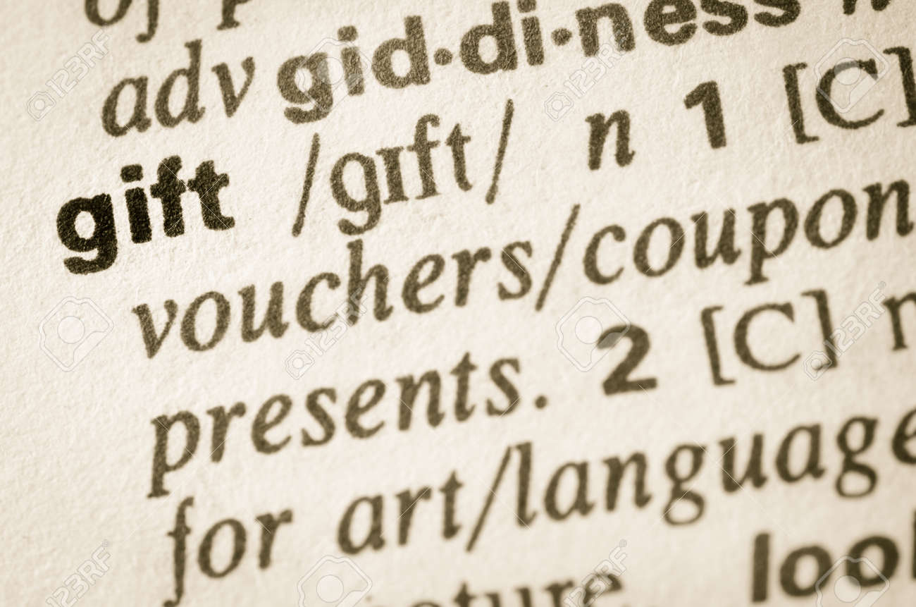 Definition Of Word Gift In Dictionary Stock Photo, Picture And ...
