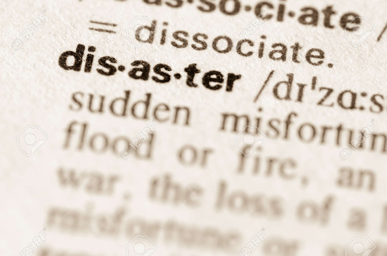 definition of word disaster in dictionary stock photo, picture and