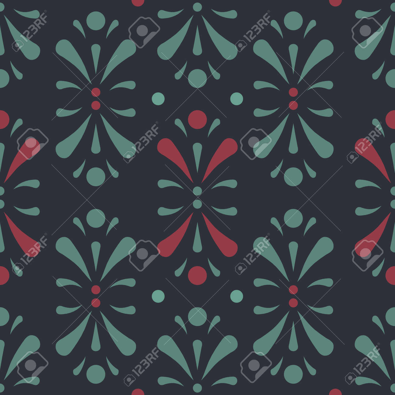 Vector Abstract Floral Design In Dark Green And Red Seamless