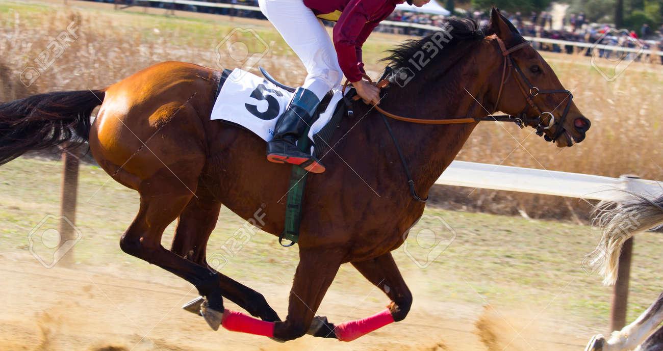 Jockey un cheval pendant une course Banque d'images - 35616168