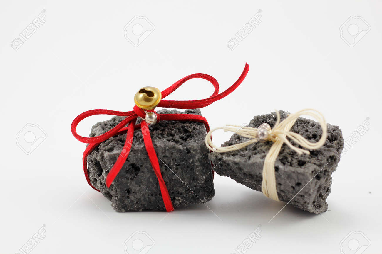 Christmas Coal With Red Ribbon, Sweet Gift For Naughty Boys Stock ...