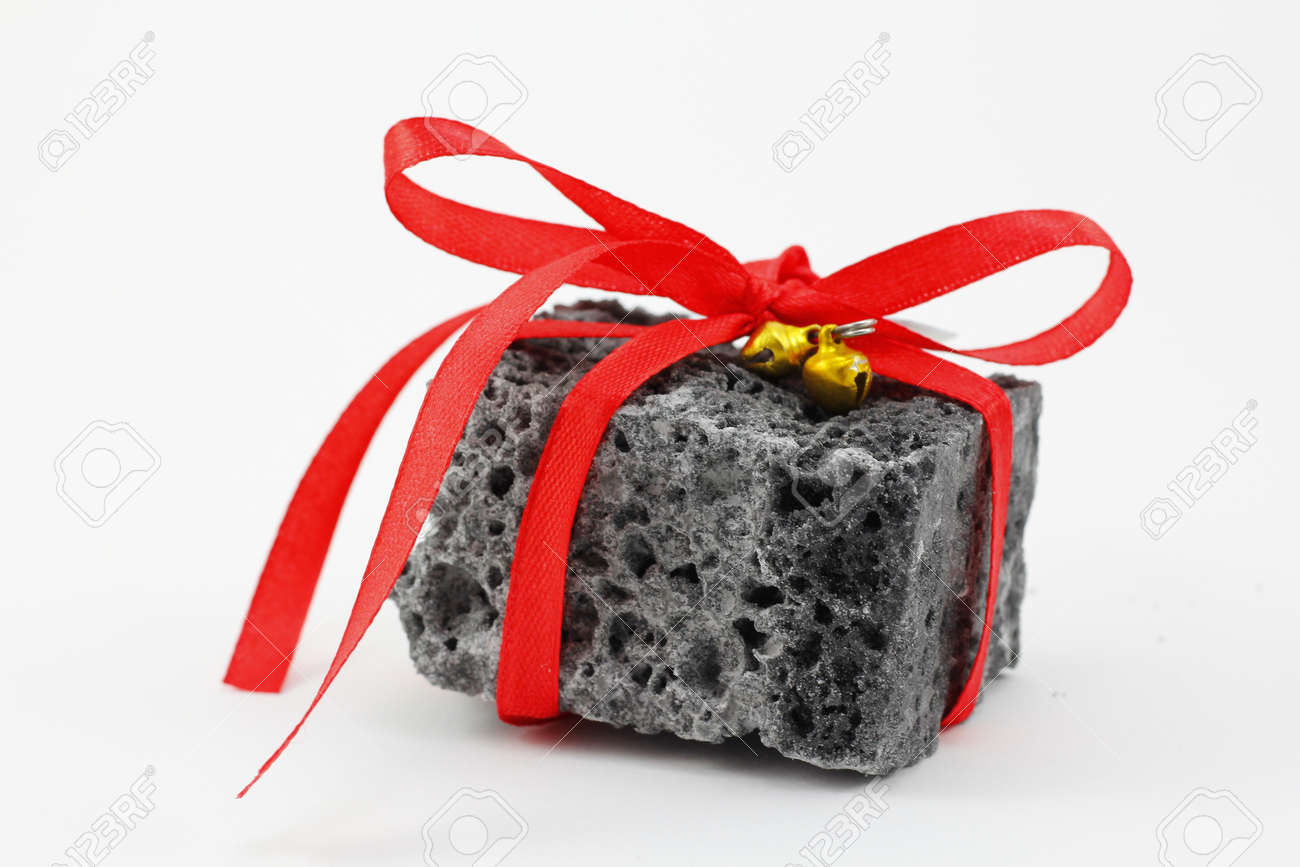 Christmas Coal Present With Red Ribbon, Sweet Gift For Naughty ...