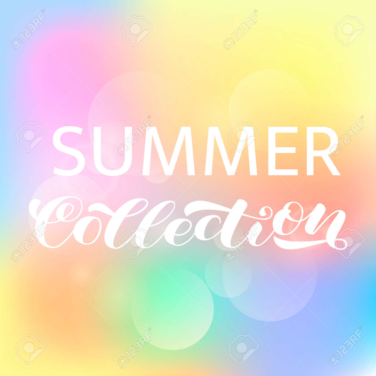 Summer collection brush lettering. Vector illustration for poster or card - 128373907
