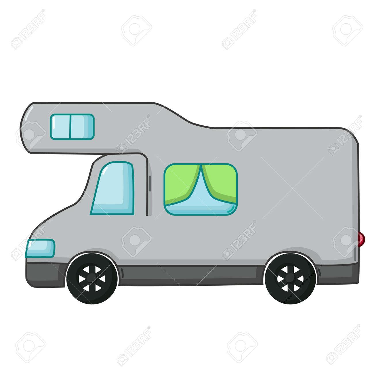 Camping Car Dessin urban icône de transport dans le style de dessin animé isolé sur