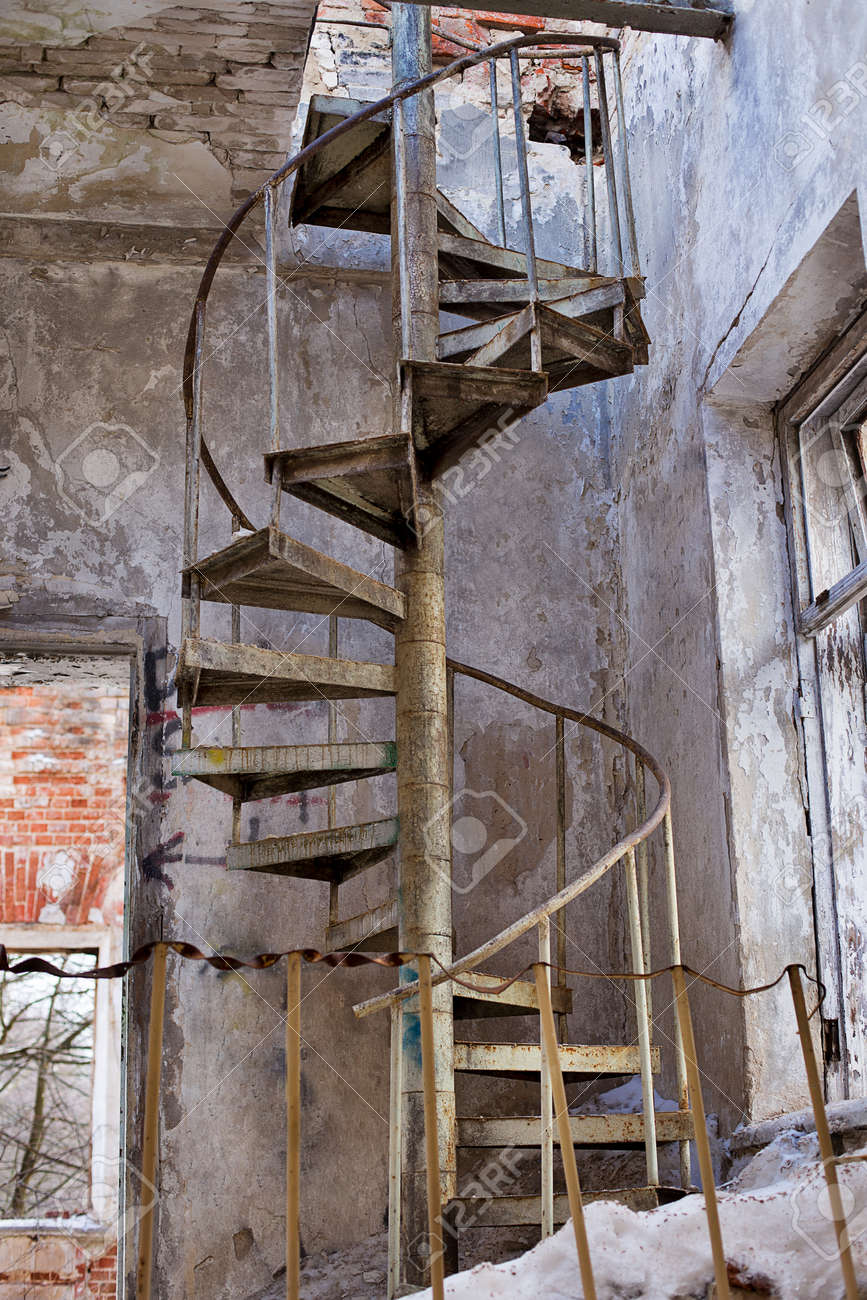 Abandoned Metal Circular Stairs In Grebnevo Mansion Stock Photo   70813133