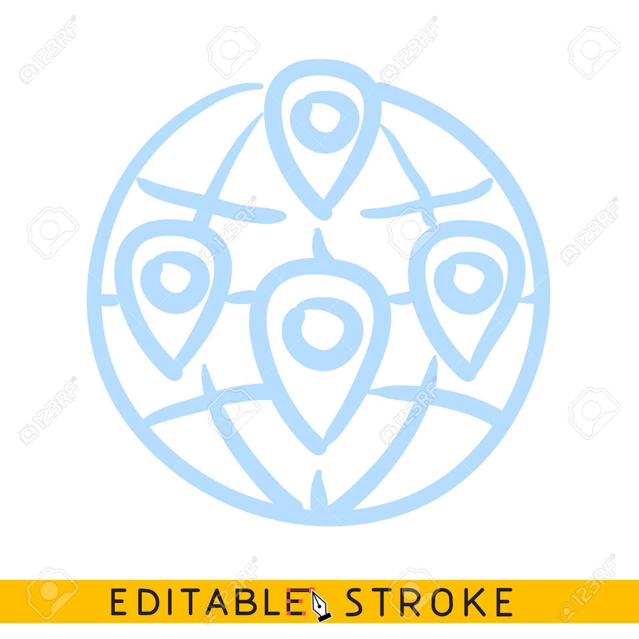 Glob with geo location pins icon. Line doodle sketch. Editable stroke icon. - 128415849