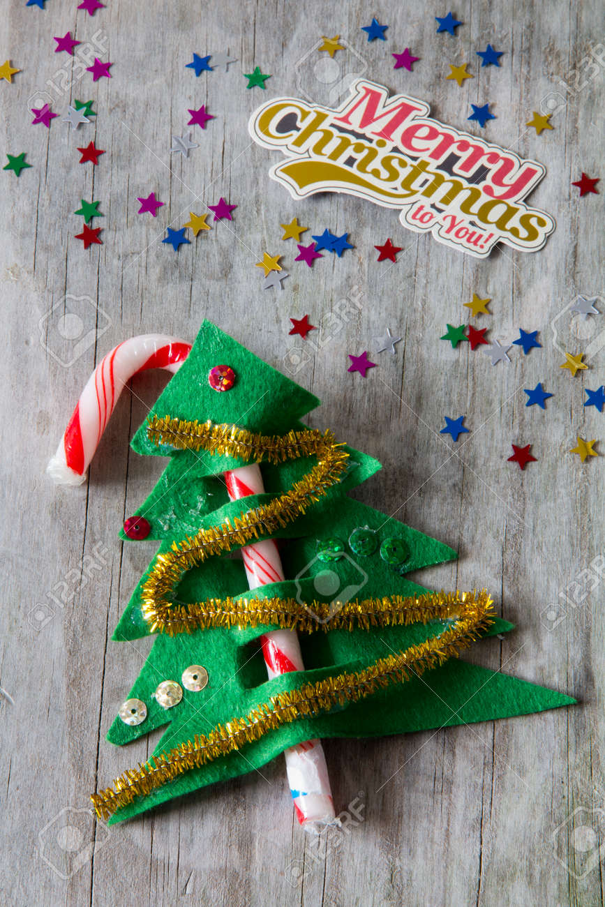 Candy Cane Christmas Tree Decoration With Merry Christmas Label Stock Photo Picture And Royalty Free Image Image 44634879