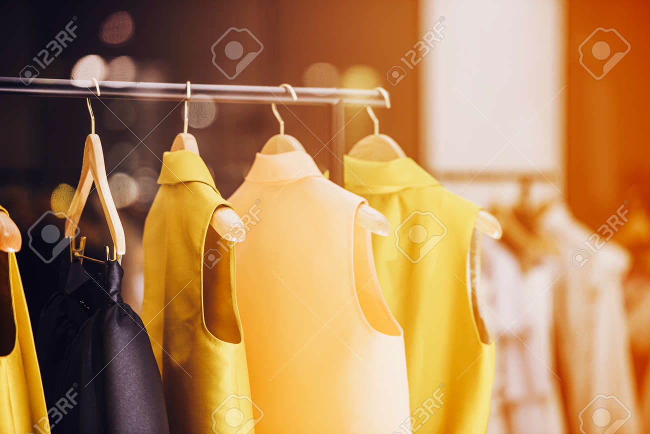 9ba347078a6 Fashionable clothes in a boutique store in London. Stock Photo - 80989468