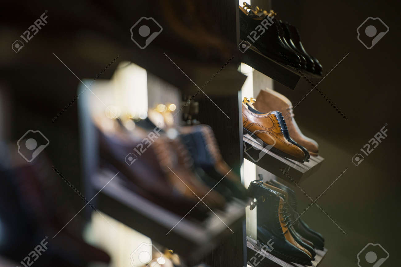 Men shoes in a luxury store in Paris. - 79237967