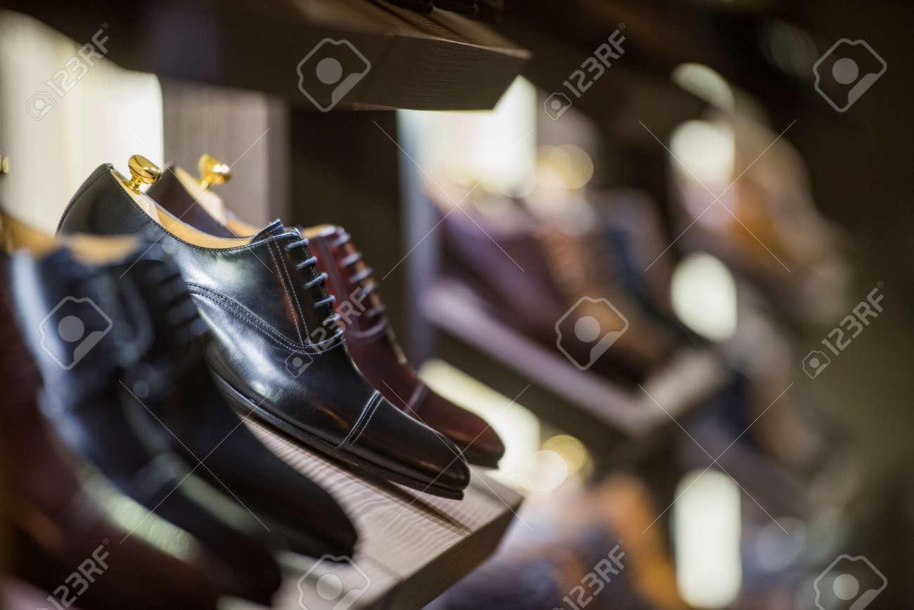 Men shoes in a luxury store in Paris. - 79239415