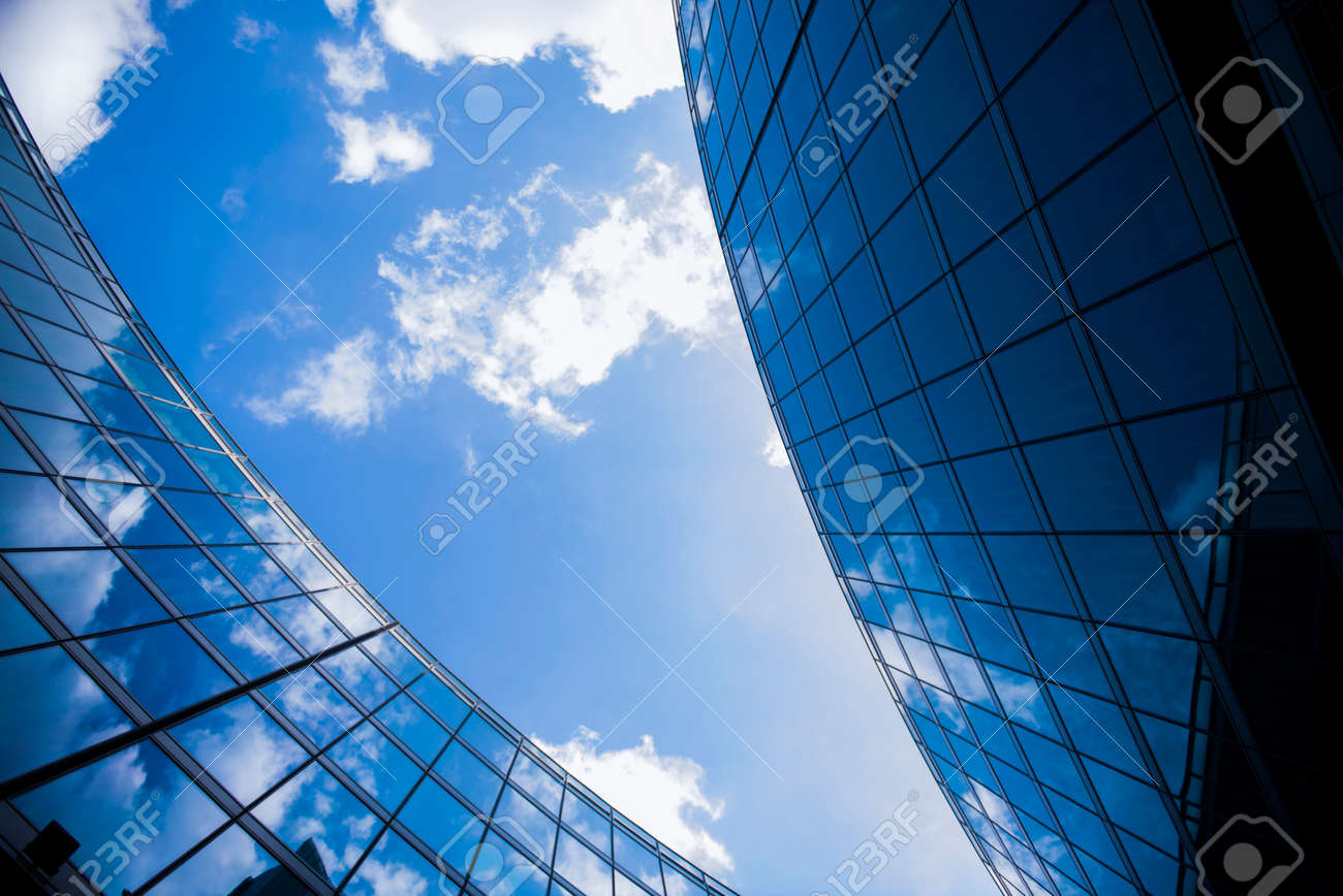 Corporate office building in Milan - detail in blue tones, business concept. - 95005796