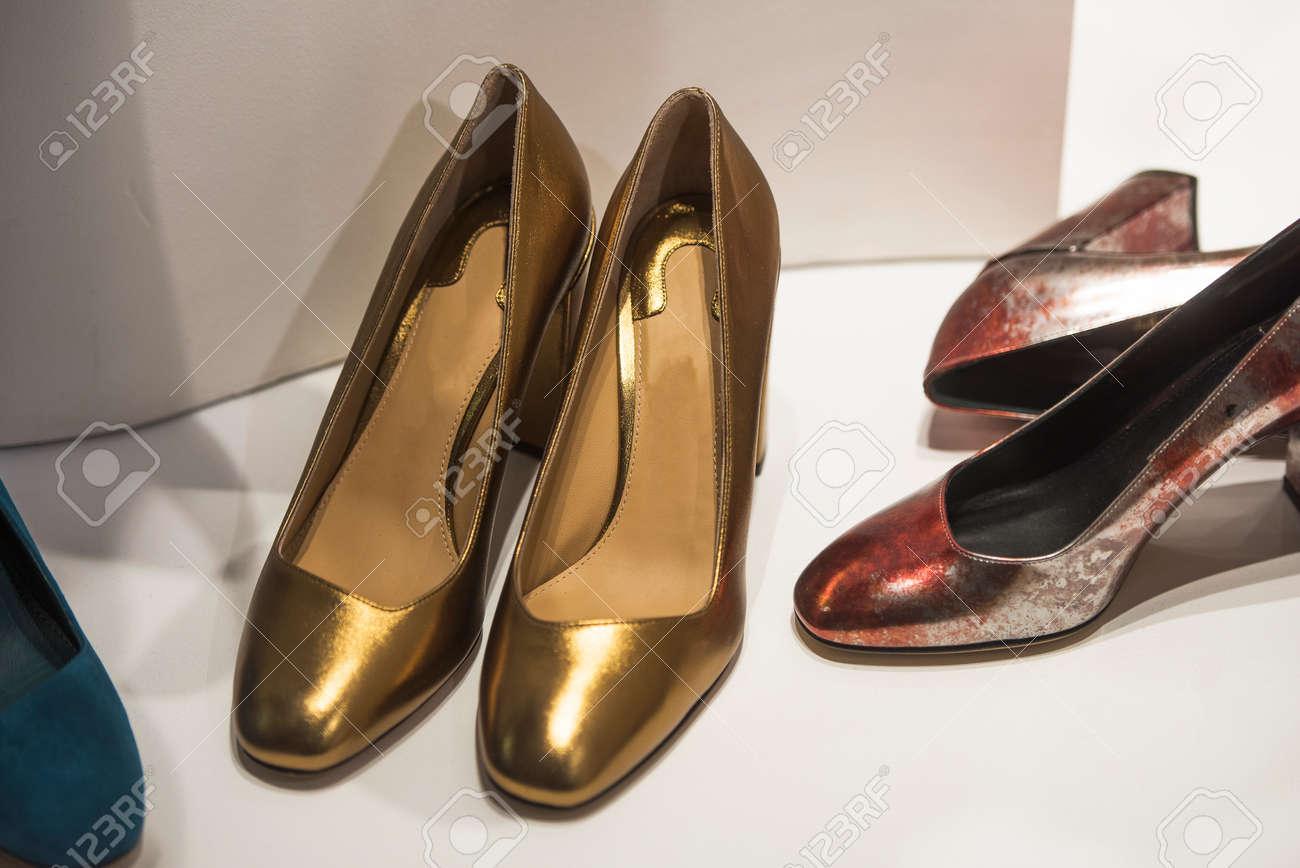 cec1de4d6a8 Stock Photo - Women luxury shoes in a store in Milan.