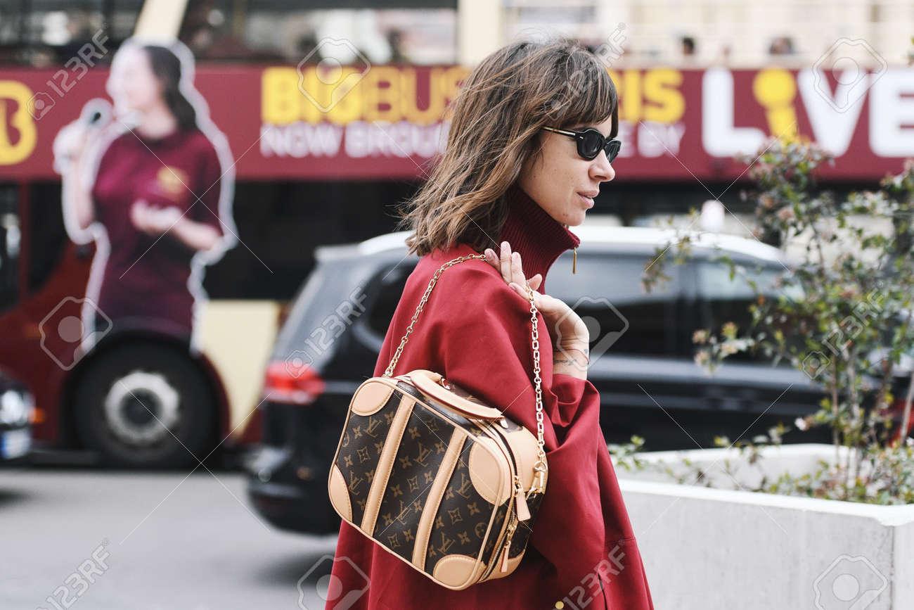 Paris, France - February 28, 2019: Street style outfit - Natasha Goldenberg before a fashion show during Paris Fashion Week - PFWFW19 - 134694693