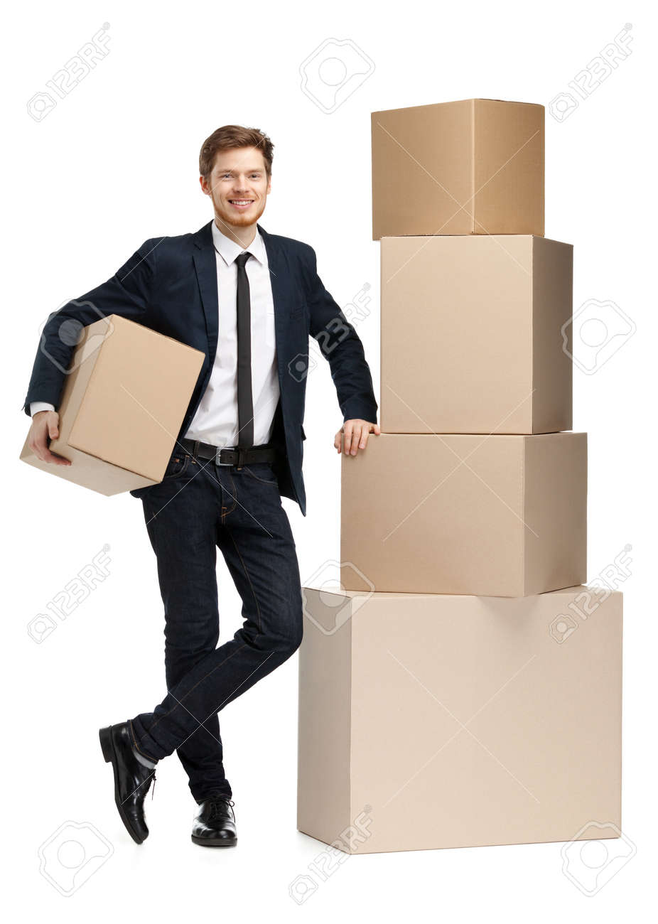 Consultant sales the equipment for schooling, isolated, white background Stock Photo - 14649702
