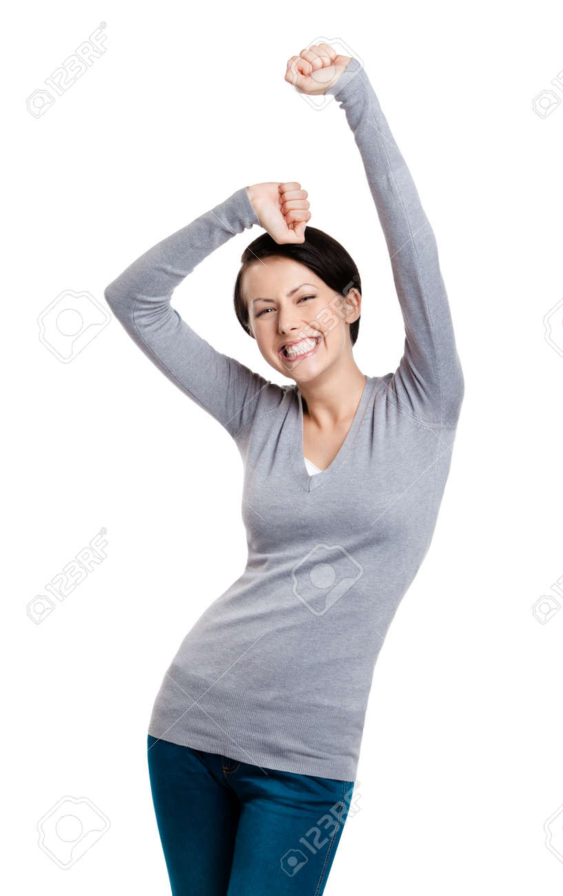 Beautiful girl gesturing triumphal fists is happy, isolated on white Stock Photo - 14730129