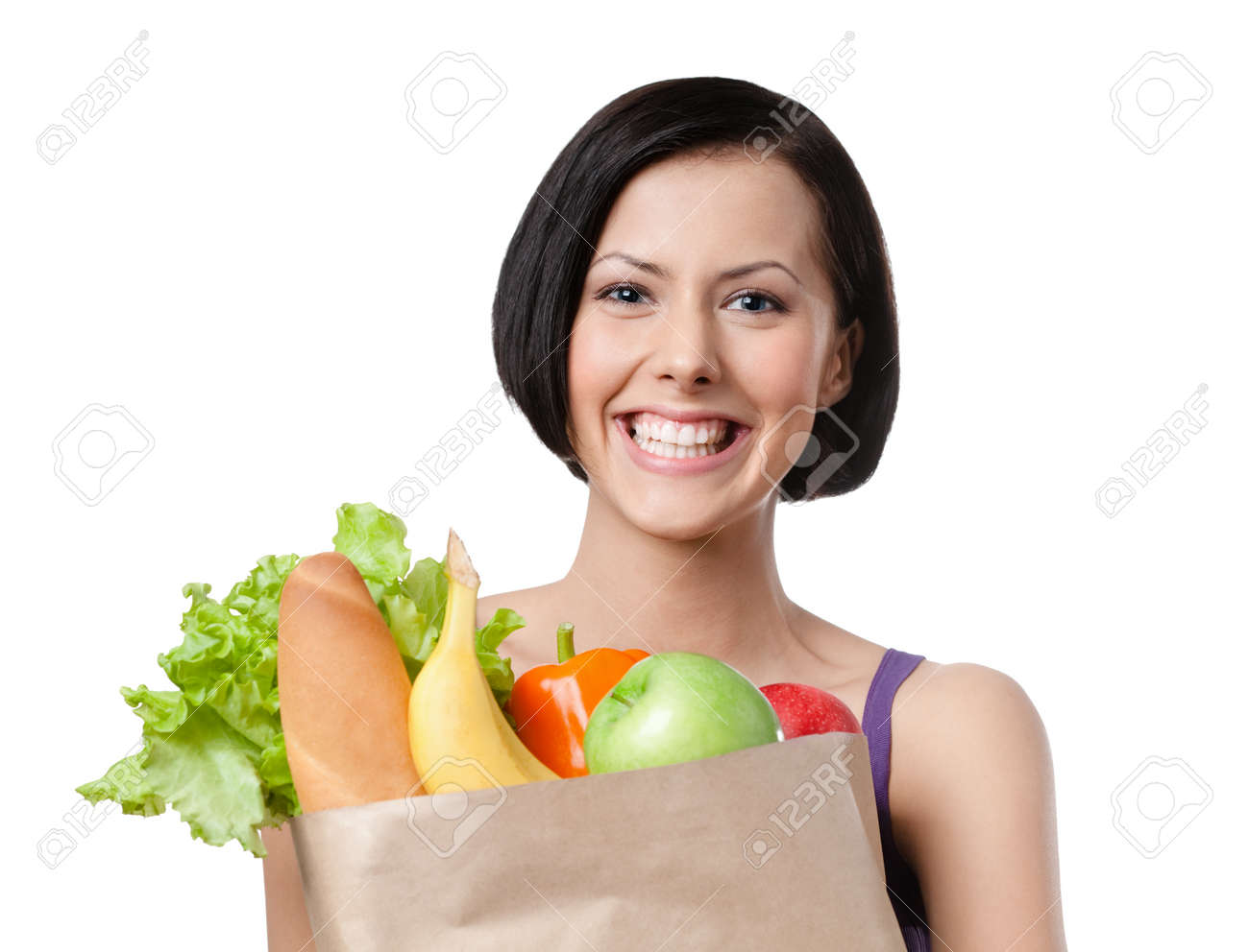 Healthy bargain of fruit and vegetables, Isolated, white background Stock Photo - 14730249