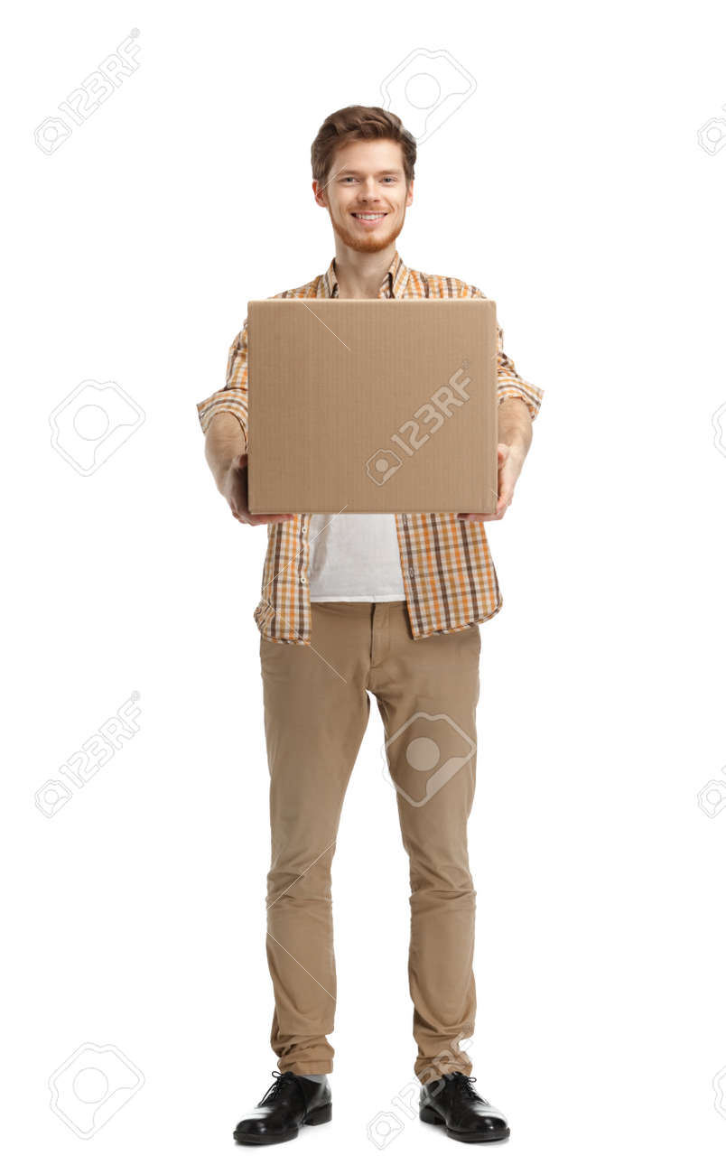 Deliveryman gives the parcel, isolated, white background Stock Photo - 14980180