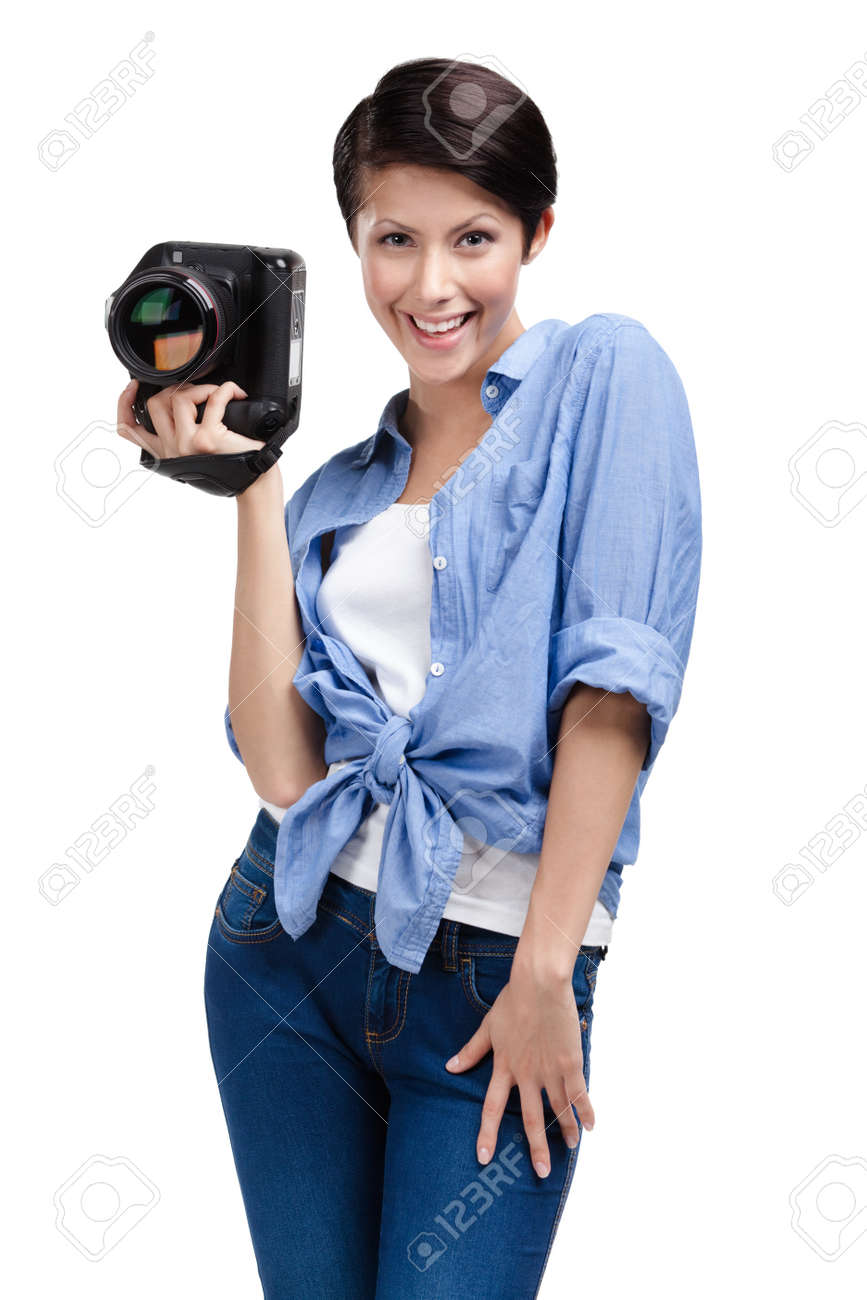 Woman-photographer takes snaps, isolated on a white Stock Photo - 15044461