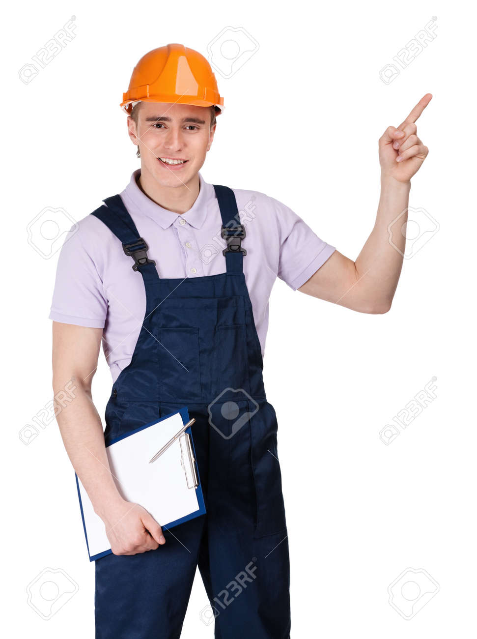 Foreman in orange hard hat and with tablet pointing upward, isolated on white Stock Photo - 15530472