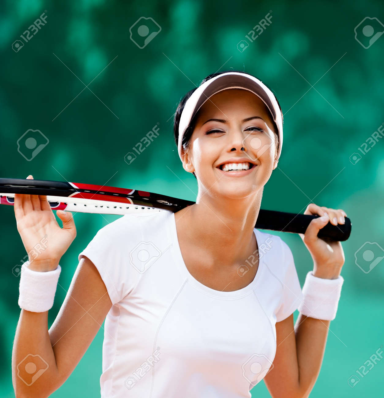 Sportswoman with racquet at the tennis court  Healthy lifestyle Stock Photo - 15693487
