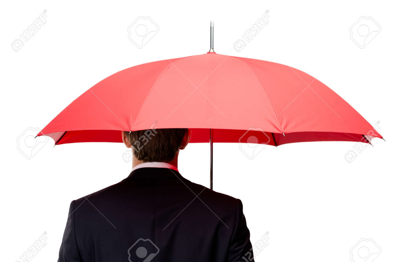 Back of the man holding opened red umbrella overhead, isolated on white Stock Photo - 15868200