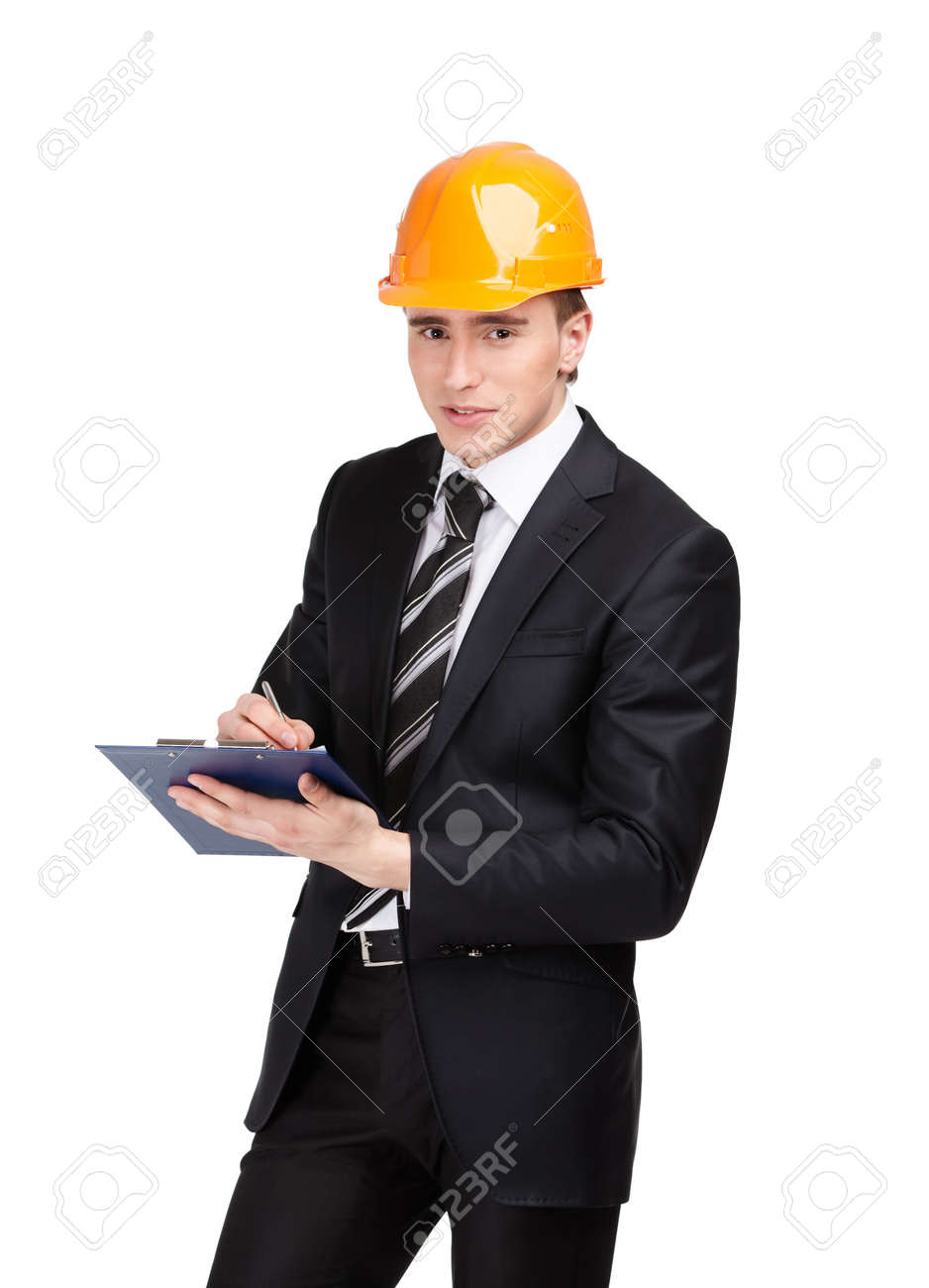 Making notes man in orange headpiece and suit, isolated on white Stock Photo - 16040428