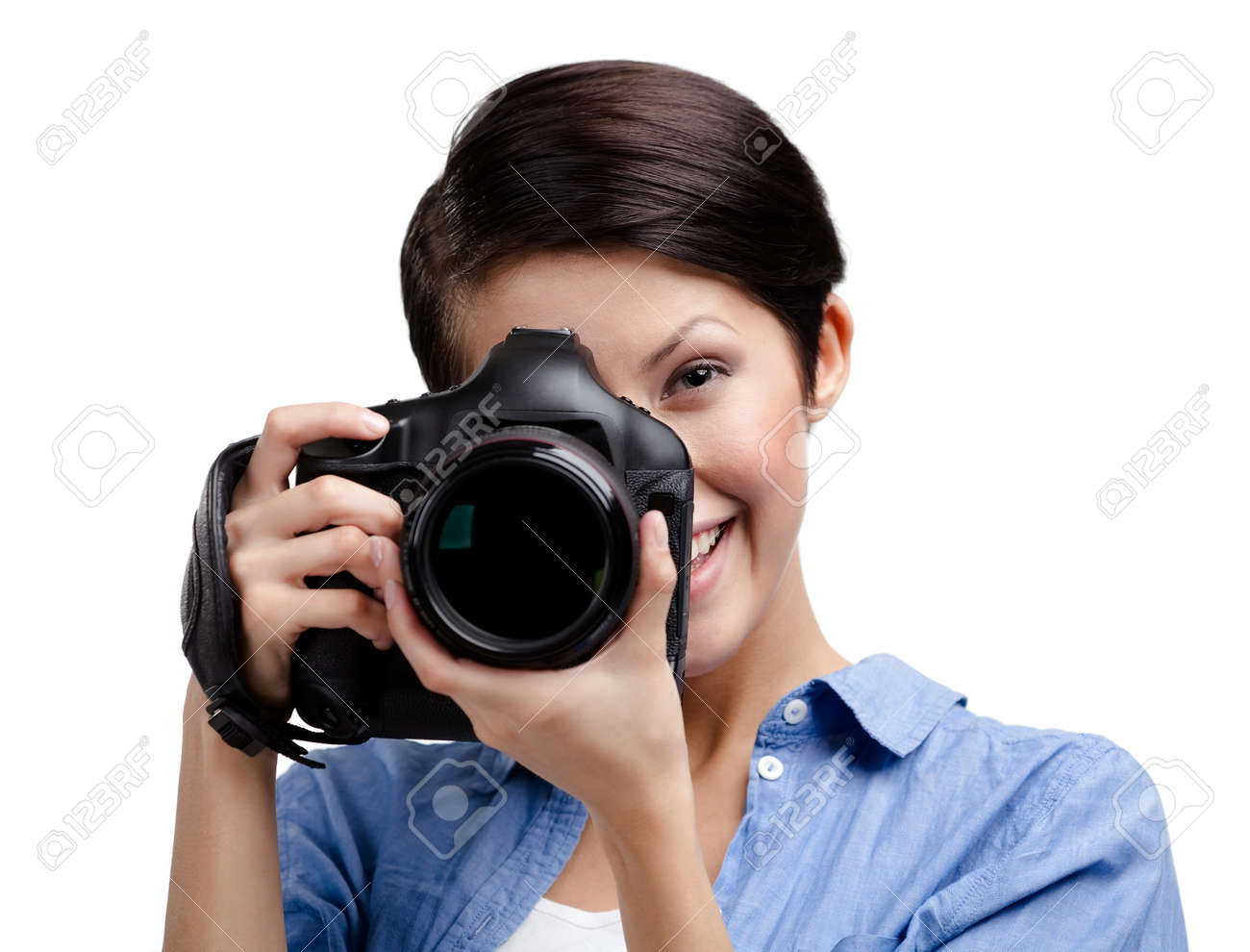 Woman-photographer takes images, isolated on white Stock Photo - 16040613