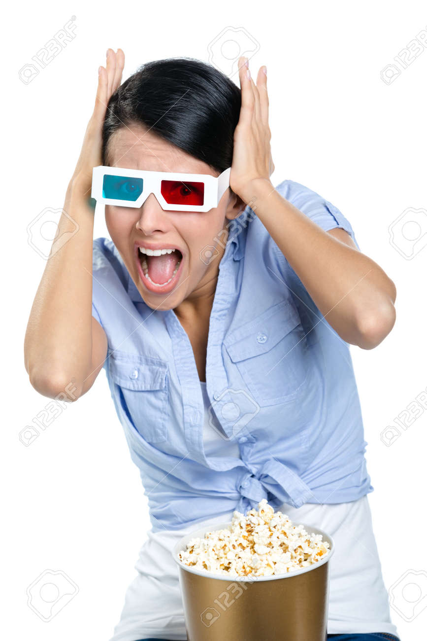 Putting hands on the head girl watching 3D movie, isolated on white Stock Photo - 17480638
