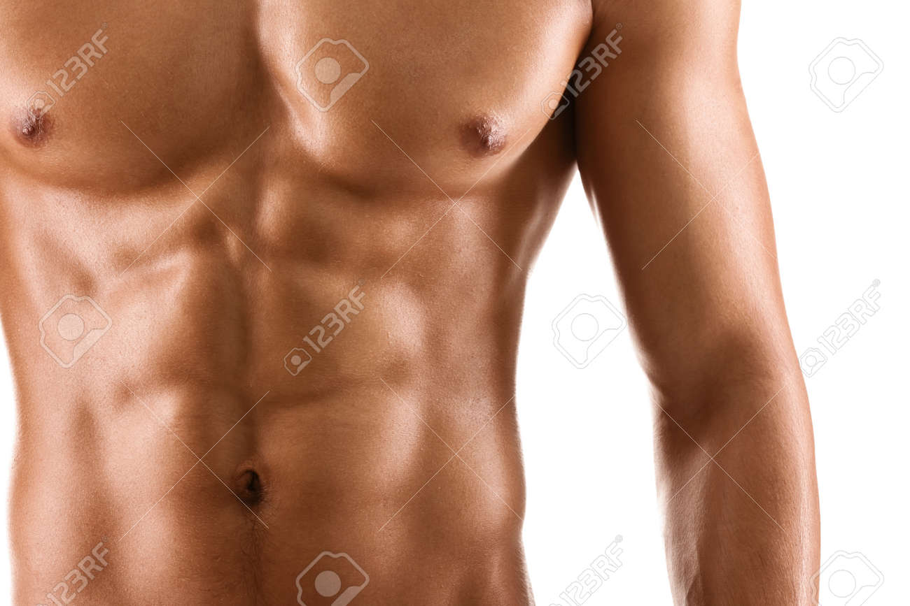Perfect Body Man Stock Images  Royalty Free Images   Vectors     shirtless man  Portrait of nude senior man smiling  isolated on white  background  Stock