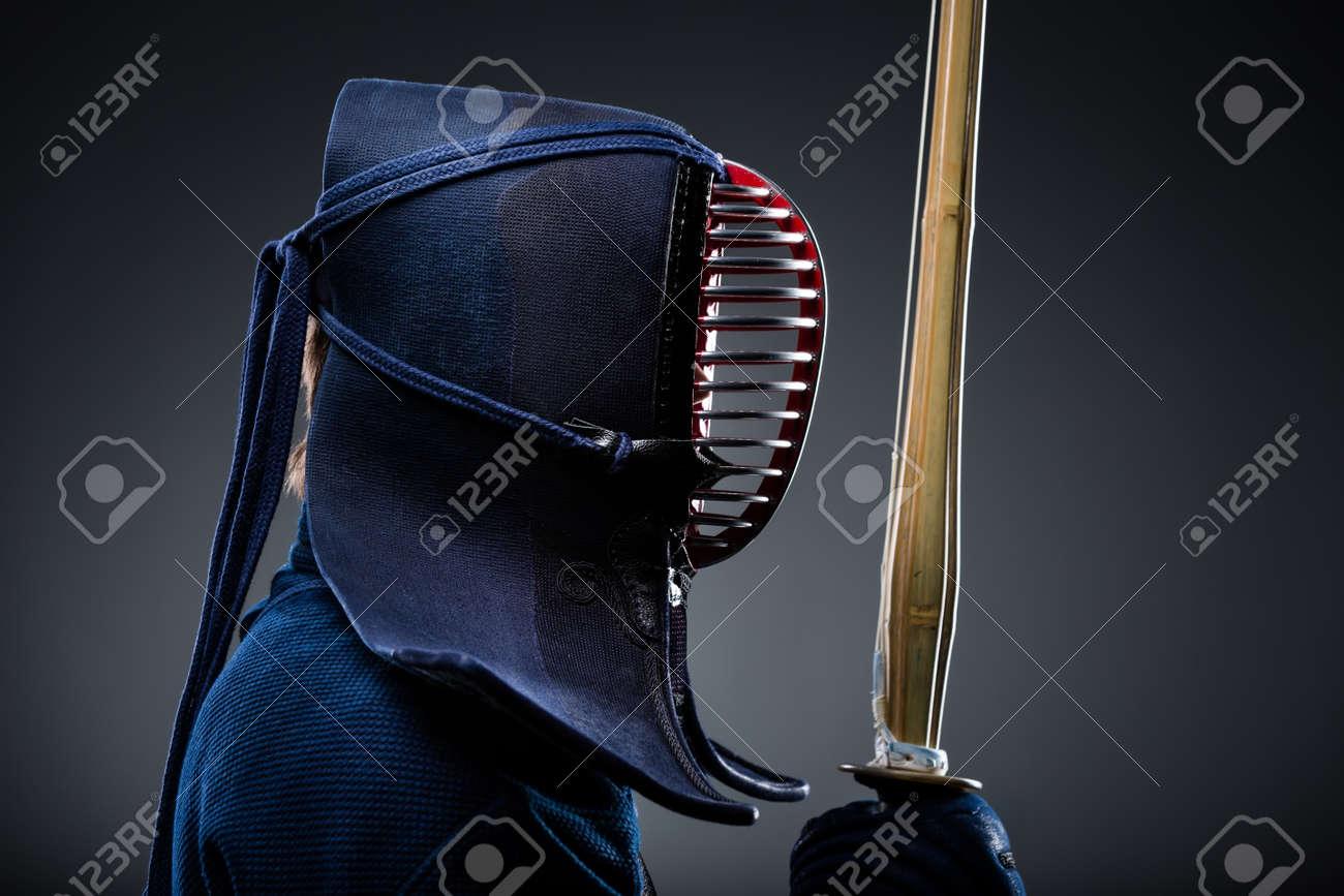 Profile of kendoka with shinai  Japanese martial art of sword