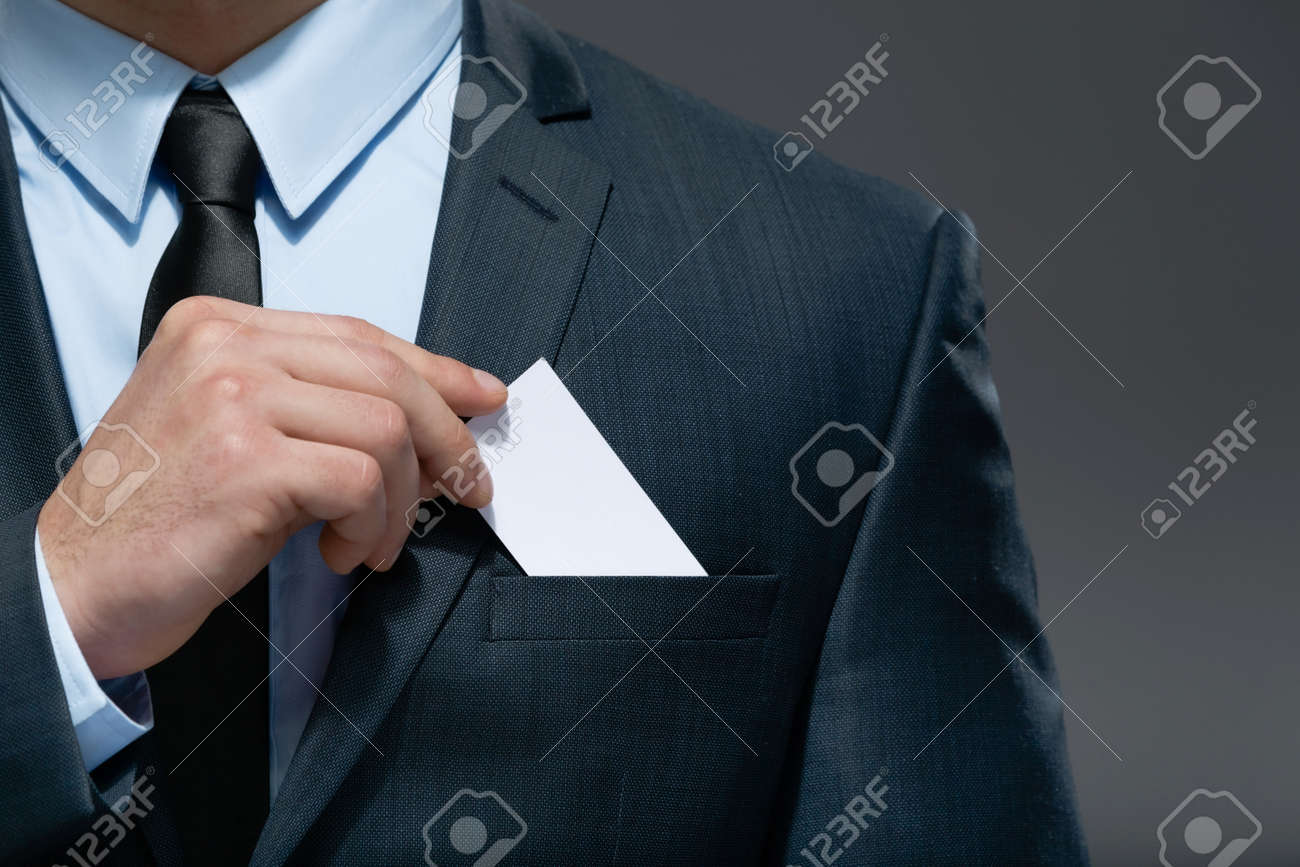 Part Of Body Of Business Man Who Takes Out Business Card From ...