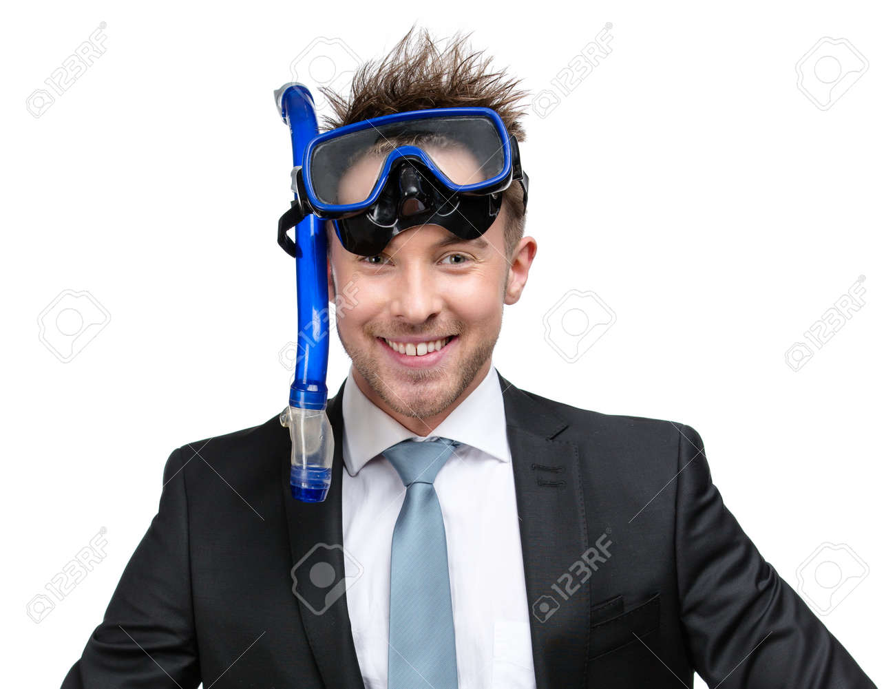 Businessman wearing suit and goggles with snorkel, isolated on white Stock Photo - 22279543