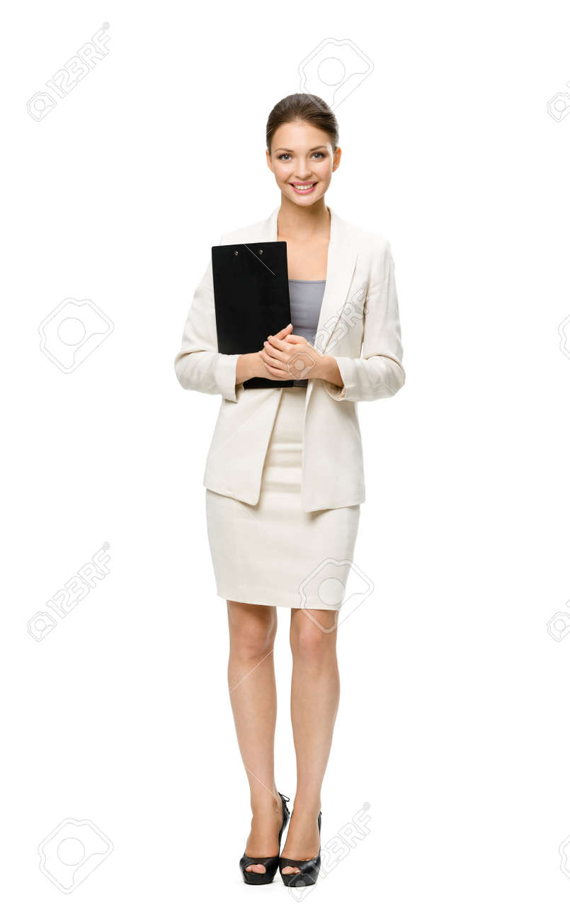 Full-length portrait of businesswoman keeping folder, isolated on white. Concept of leadership and success Stock Photo - 22529164
