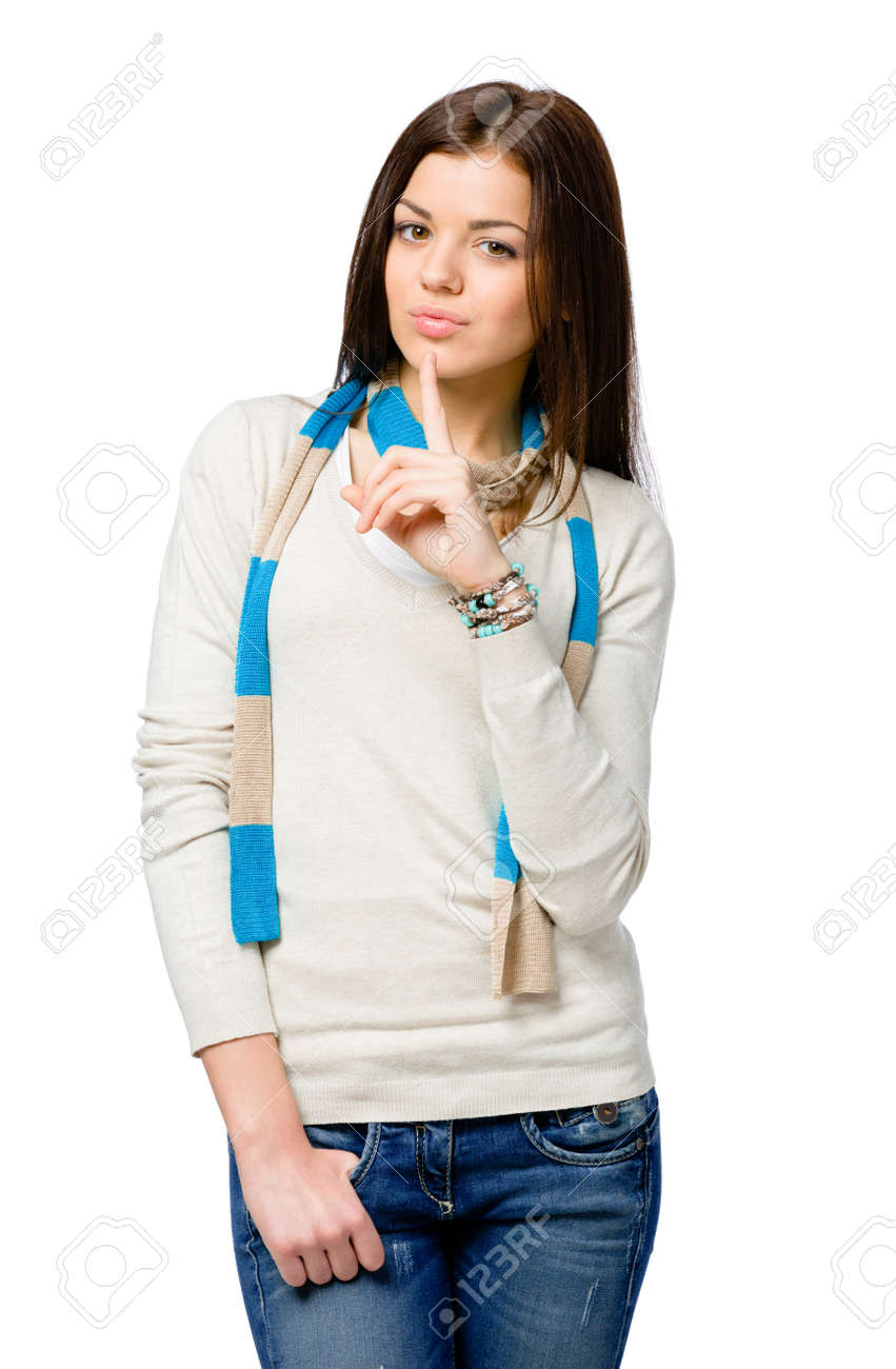 Half-length portrait of teen in colored scarf silence gesturing, isolated on white Stock Photo - 23371562
