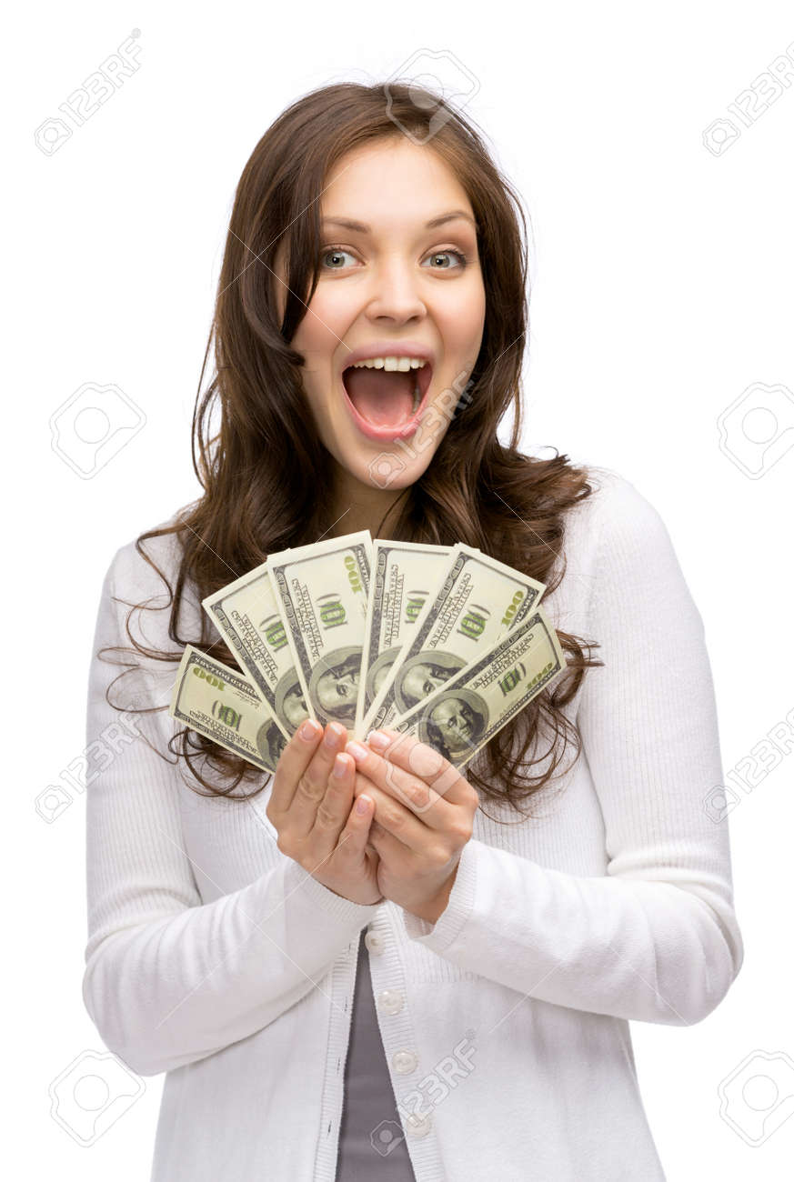 Half-length portrait of happy woman holding cash, isolated on white. Concept of wealth and income Stock Photo - 24480945