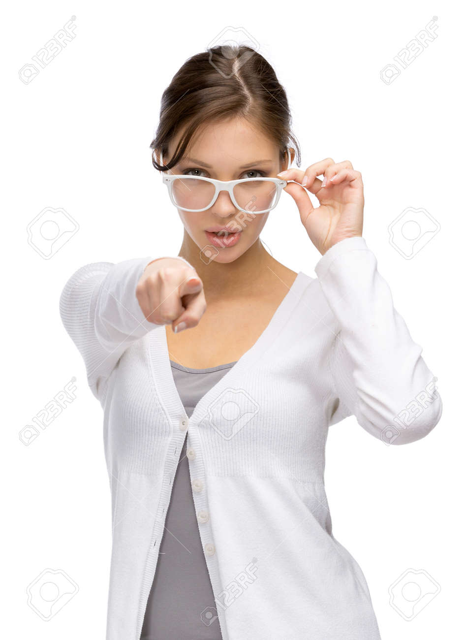 half length portrait of business woman in white frame glasses who pointing hand gestures