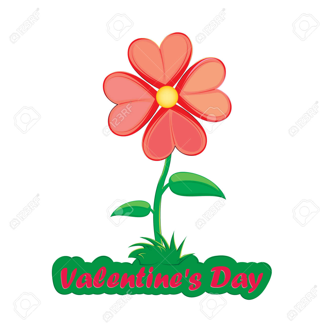Flower From Red Hearts Valentine S Day Card Royalty Free Cliparts