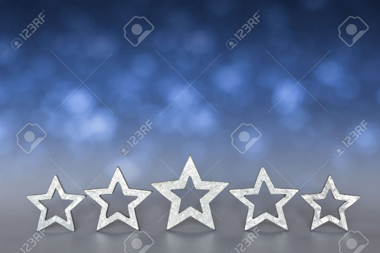 Five silver stars on blurred blue and gray background copyspace - 40082944