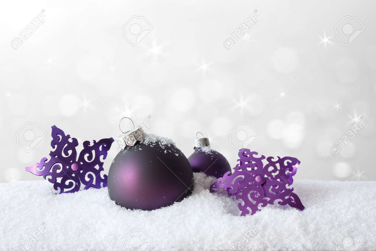 Purple Christmas Tree Decoration, Baubles And Stars, On Snow ...