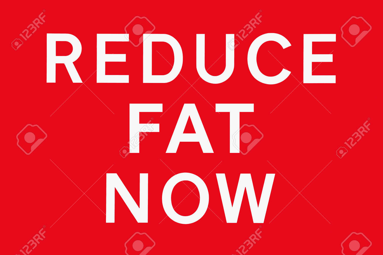 White Text On Red Background Reduce Fat Now Symbol For Health
