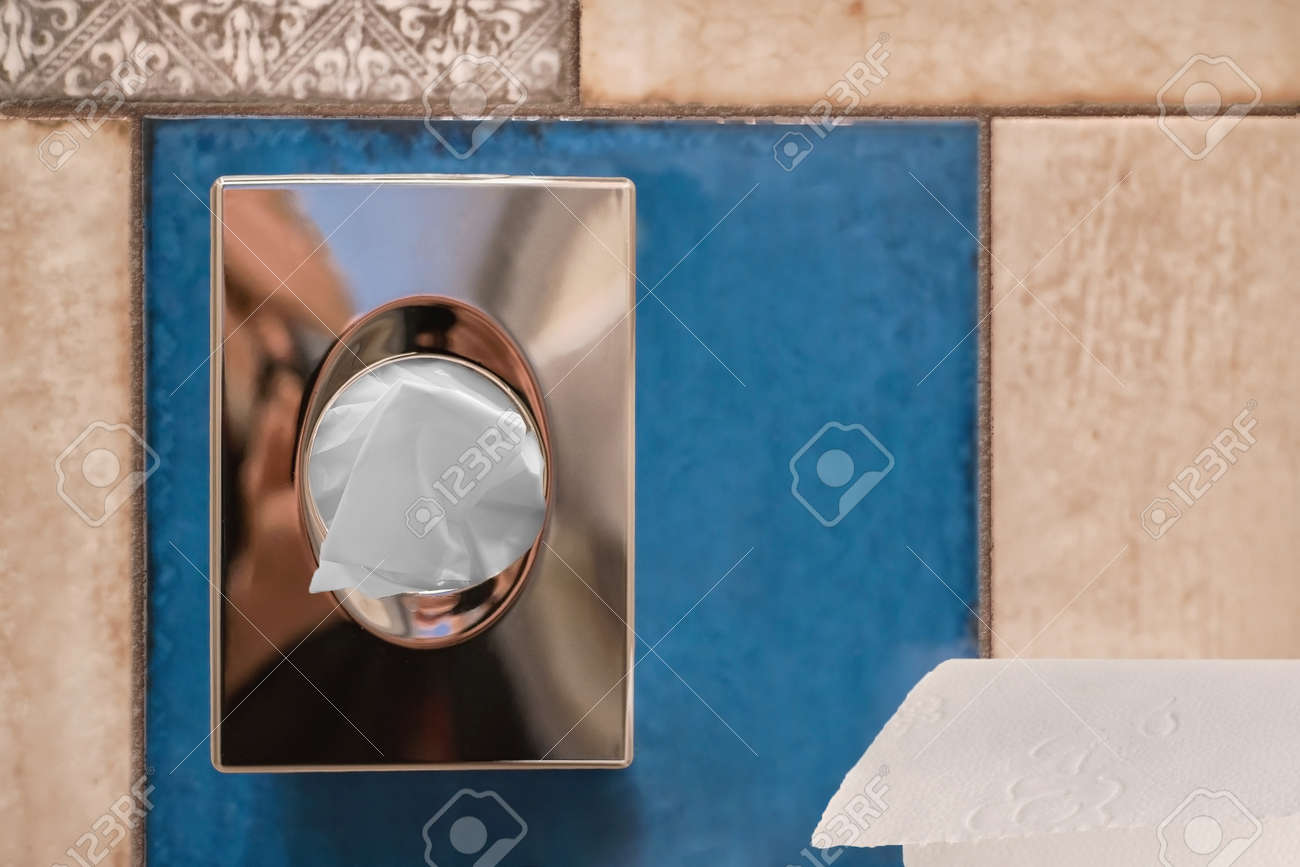 Hygienic Bag Dispenser And Toilet Paper On Tiles In A Bathroom Stock ...