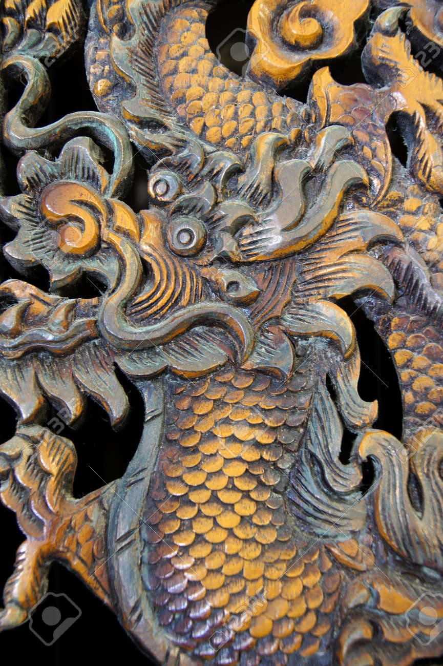 Wooden chinese dragon carvings stock photo picture and royalty free