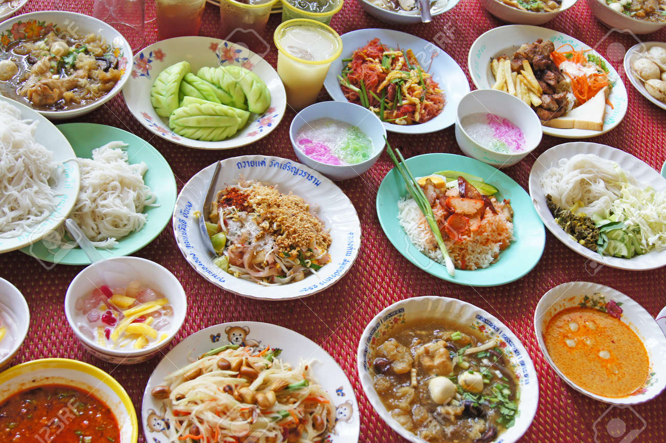 Thai food and sweets of various types  Religious ceremony Stock Photo - 16261199